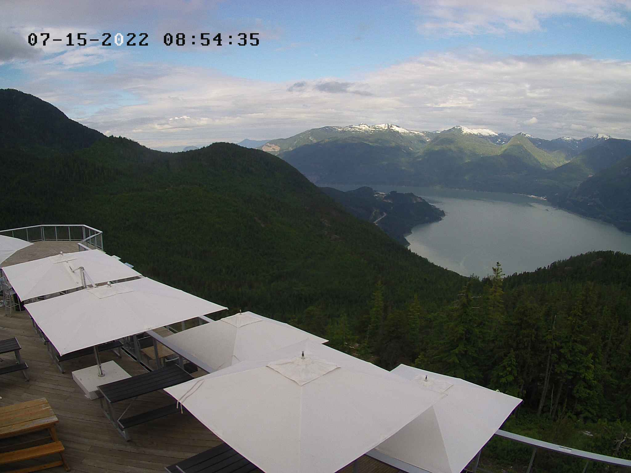 Kiteboarding Webcam view of Squamish from the top of the Sea To Sky Gondola